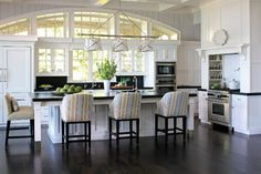 Great kitchen and comfy stools