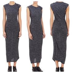 """Isabel Marant Warrick Drape Jersey Dress Isabel Marant Étoile Anthracite marled slub jersey Warrick maxi dress detailed with draped fold-back sleeves and ruched wraparound seams. Draped fold-back sleeves stitched down at shoulders Fitted silhouette, banded jewel neck, wraparound ruched seams 51"""" from shoulder to hem (approx) 50% polyamide, 30% linen, 20% virgin wool. Great condition. Isabel Marant Dresses Maxi"""
