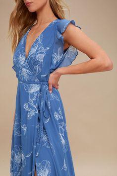 Albion Blue Floral Print Wrap Maxi Dress 4