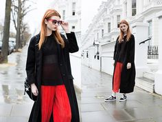 Get this look: http://lb.nu/look/8204965  More looks by Hannah Louise: http://lb.nu/hannahlouisef  Items in this look:  Missguided Sleeveless Jumper, Asos Duster Coat, Stella Mc Cartney Star Print Bag, Topshop Red Pleated Trousers, Vans Old Skool   #casual #sporty #street