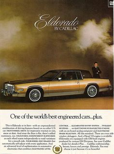 This is an original vintage magazine advertisement for the 1979 Cadillac Eldorado, salvaged from the February 1979 issue of Scientific American Magazine. Cadillac Eldorado, Cadillac Escalade, Lifted Ford Trucks, Chevrolet Trucks, 1957 Chevrolet, 4x4 Trucks, Diesel Trucks, Chevrolet Impala, Diesel Cars