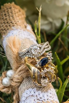 Bride's Engagement Ring with Grandmother's Rings tied to Bouquet