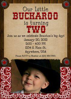 **For K's Cowboy 2nd Birthday! **    Cowboy Birthday Party Invitation  Boy Girl by DecidedlyDigital, $15.00