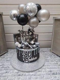Ballon Cake Topper Mini Garland Silber - Balloon Cake T Birthday Cakes For Men, 30th Birthday Ideas For Women, Beautiful Birthday Cakes, Birthday Decorations For Men, 2nd Birthday, 60th Birthday Cake For Men, Birthday Cake For Boyfriend, Balloon Birthday, Birthday Cake Toppers