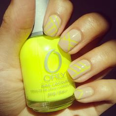 yellow and nude neon nails