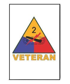 Army 2nd Armored Division Veteran Refrigerator Magnet  This magnet is 3 inches wide by 2 inches tall.