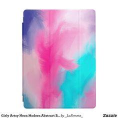 Girly Artsy Neon Modern Abstract Brushstrokes Art iPad Pro Cover