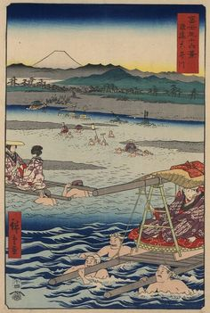 Mt Fuji from the Crossing of Oi River by Hiroshige - from the 36 Views of Mt. Fuji series (1858)