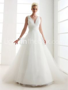 A-line V-neck Floor-length Satin Wedding Dress