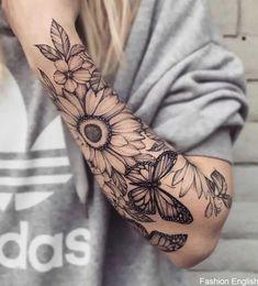 Demi-manche fleurie par Ariana Roman - Demi-manche floral papillon monarque tournesol Informations About Floral half sleeve by Ariana Roman - Pretty Tattoos, Cute Tattoos, Black Tattoos, Body Art Tattoos, Tattoos For Guys, Xoil Tattoos, Woman Tattoos, Tattoo Ink, Tattos