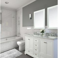 Longford 60 Double Bathroom Vanity Set Birch Lane™ - Where can you buy bathroom furniture Grey Bathrooms, White Bathroom Vanities, Marble Bathrooms, Farmhouse Bathrooms, Master Bathrooms, Bathroom Mirrors, Beautiful Bathrooms, Bathroom Canvas, Tiled Walls In Bathroom
