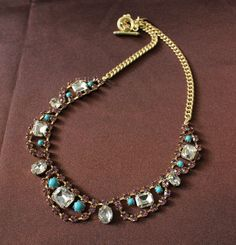 Fashion J Crew Copper Bule and color Stone Necklace bib Luxury Jewelry necklace
