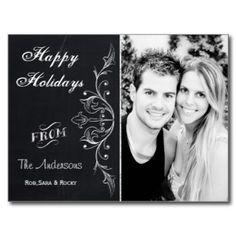 elegant chalkboard photo Holiday cards Postcard on www.mgdezigns.com #Christmas #Holidays
