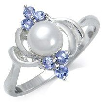 Natural White Pearl & Tanzanite Sterling Silver Ring