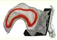 """Open Art Warsaw Artist: Piotr Pasiewicz, Linocut+, 2012, """"Narodziny 1/1"""", 100x70"""