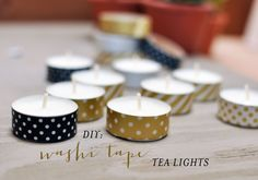 DIY: Washi Tape Tea Lights.  I have the little glass holders and love candles but don't like the aluminum showing through....doesn't match my decor.  Great idea!