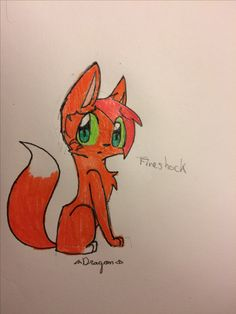 Fireshock, Fallencloud's mate. I will take requests :3 Drawn by DragonWingz (repin with credit please!)