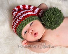 Baby Christmas Hat Newborn or 0 to 3 Month   by MeToYouCrochet, $20.00