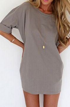 Grey Plain Print Elbow Sleeve Chiffon Mini Dress