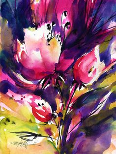 Abstract flower watercolor painting.