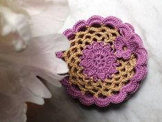 Set of 4 coasters Purple small crochet doily Kitchen by ElenaGift