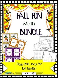 Full of fall math fun! We've included lots of great Halloween math classwork and activities to help your kiddos learn while having fun. There are several Halloween math sheets and activities that cover different math objectives. There is even a fun song about the fact families. Included: - Halloween Math Scoot addition game: 1-10 with teacher guide -Halloween Math Scoot subtraction game: 1-10 with teacher guide - Halloween Math Number cards with teacher guide