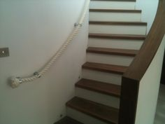 Cotton Rope Stairs Banister (Handrail) with Chrome Brackets Rope Railing, Stair Banister, Banisters, Handrail Brackets, Wall Brackets, Cotton Rope, Stairways, Scale, Chrome