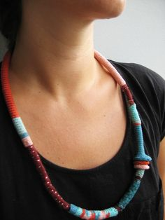 https://flic.kr/p/cBJkah | Teal-turquoise-rust pink tribal long tribal necklace