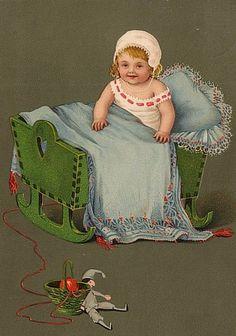 BABY Kind in der WIEGE KASPER unsign. Marie FLATSCHER 1907 SEHR SCHÖN !!! in Sammeln & Seltenes, Ansichtskarten, Motive | eBay