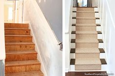 Before and after photos of a home stairway