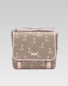Gucci - GG Zoo Birds Diaper Bag, Brown/Pink