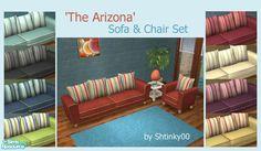 shtinky's 'The Arizona' Sofa & Chair Set Sims 2, Sofa Chair, Porch Swing, Outdoor Furniture, Outdoor Decor, Arizona, Toddler Bed, Living Room, Retro