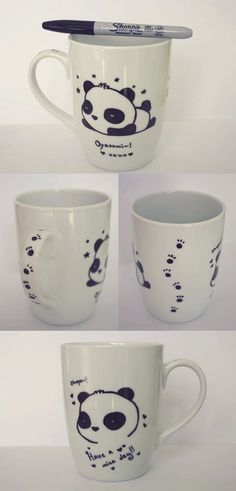 #Panda #Mug - I used a black #Shapie to draw a cute panda on a normal #white mug which I bought time ago... I made it as a gift for my #bestfriend who loves pandas :) #MadebyLilith__ #LilithHandmadeGifts