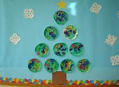Christmas bulletin board ideas for preschool - Let each child decorate a plate for the tree. Cute door decoration