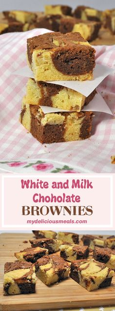 Quick and easy marbled brownies recipe that is done in less than an hour. They look beautiful and are a good way to satisfy your sweet tooth. Delicious Desserts, Dessert Recipes, Yummy Food, Blondie Brownies, Brownie Bar, Vegetarian Chocolate, Brownie Recipes, Sweet Tooth, Desert Recipes