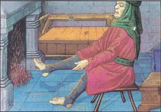 STIRRUP HOSE - Late 15th century miniature with a French type strycsitten (bench). Missel de l 'abbaye de Montierneuf. Ms. Latin 873, F. 2 v. Bibiliotheque National, Paris, France.
