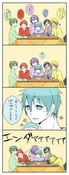 Kise: As I thought, Rei-chan is cute-ssu~;   Aomine: Huh, Mari is.; Atsushi: I want to eat~ ;   Akashi: Atsushi, that's the 5th time already; Midorima: You guys keep your mouths shut and watch.;  Kuroko: Me too. When I'm with you guys, I feel all warm and tingly inside.  ************************  OMG KUROKO LEMME HUG YOU >w<