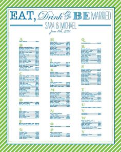 Eat Drink & Be Married Seating Chart   High Rez PDF by Storyfor2, $30.00