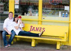 Newport Beach Pier Family Portraits – Family Vacation, Orange County Photographers, Sand, Waves, Barefoot, White, Denim, Blue Jeans, Flower Headband, Wood, Bricks, Cute, Baby, Janes, Bench, Yellow, Outfits, GilmoreStudios.com