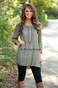 Say You'll Remember Me Olive Tunic - The Pink Lily Boutique