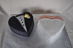 Heart Bride and Groom - Heart Shaped Bride and Groom cake for my Sister in Law's Bridal Shower.