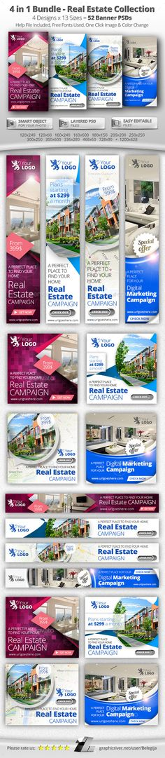 52 Real Estate Web & FB Banners - 4 in 1 Bundle - Banners & Ads Web Elements