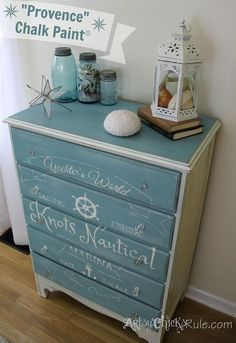 coastal themed thrift store dresser graphics annie sloan chalk paint, chalk paint, painted furniture, painting, Coastal themed thrift store dresser painted in Provence Chalk Paint