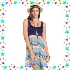 Lowestsleeveless Multi Stripe Dress