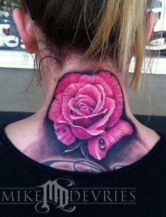 Realistic Pink Rose Neck Tattoo - Mike DeVries - The Best Flower Tattoos Rose Neck Tattoo, Throat Tattoo, Girl Neck Tattoos, Tattoo Roses, Tattoo Girls, Awful Tattoos, Love Tattoos, Body Art Tattoos, Crazy Tattoos