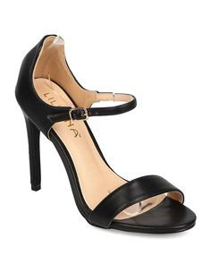 Liliana FK37 Women Leatherette Open Toe Single Band Stiletto Sandal - Black *** You can find more details by visiting the image link.