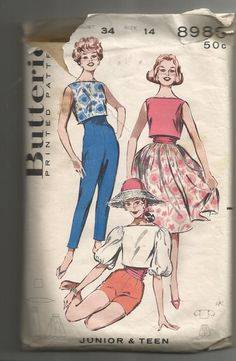 1950's Butterick Printed Pattern # 8986 Junior's & Teen's Sportswear Coordinates Pants Cropped Top Full Skirt   Bust 34 Size 14 Cut by GwensHaberdashery on Etsy
