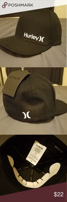 NWT Mens Hurley Corps Hat w  Dri-fit Solid black with white lettering on 850c61dce9be