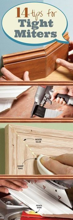 Use a Sharp Saw Blade - You can't cut perfect miters with a dull blade, one with too few teeth or one that's designed for ripping. Check your blade for sharpness by cutting a 45-degree miter on a 1x3 or larger piece of oak or other hardwood. If the blade cuts smoothly with very little pressure and leaves a clean, almost shiny cut with no burn marks, it's sharp enough to cut good miters. When you check your blade or shop for a new one, look for one labeled as a �trim� or �fine crosscutting�…