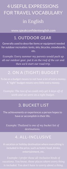 English vocabulary for travel. Where are you going this summer? Get the full lesson here http://www.speakconfidentenglish.com/travel-stories/?utm_campaign=coschedule&utm_source=pinterest&utm_medium=Speak%20Confident%20English%20%7C%20English%20Fluency%20Trainer&utm_content=English%20Travel%20Vocabulary%20with%20Stories and then tell me about your upcoming vacation.